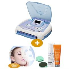 Combo - Neurodyn Esthetic - Ibramed + Vicae Protetor Solar + Bio Sérum Facial + Máscara Facial Reparadora com 12 sachês + Eletrodo Ibramed Pad P -205/2