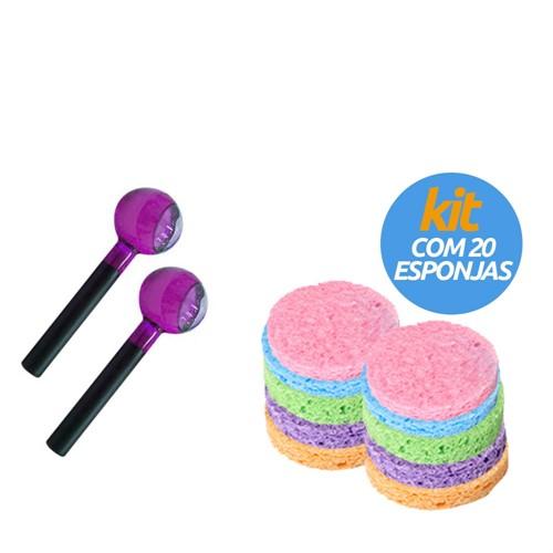 Esferas de vidro coloridas tamanho G (o par) + Kit com 20 Esponjas de Celulose Facial