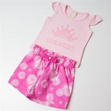 Conjunto Bebê Colorittá Camisa e Short Princesa Rosa