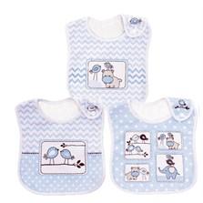 Kit 03 Babadores Pack Colibri Baby Amiguinhos Azul