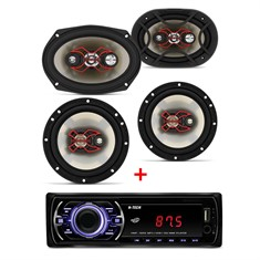 Kit Alto Falante Bravox Kit Fácil (6 polegadas + 6x9 polegadas) + MP3 Player Multilaser One- 220W RMS, 4 Ohms