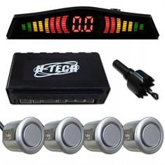 Kit Sensor De Estacionamento C/ 4 Sensores Ré - Prata