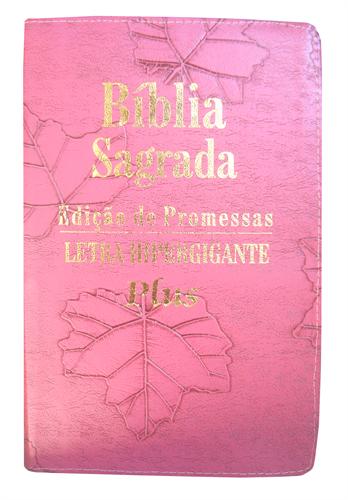 Bíblia Letra Hipergigante Plus Zíper Costura Pink Deco com índice