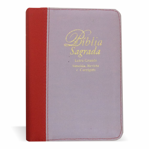 Bíblia Letra Grande Zíper Bicolor Lilás com Vermelho Liso