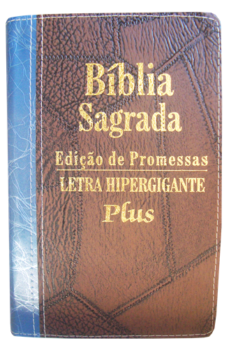 Bíblia Letra Hipergigante Plus Zíper Bi-Color Marrom Costura com Azul Deco