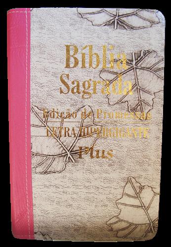Bíblia Letra Hipergigante Plus Zíper Bi-Color Marfim Folha com Pink Costura