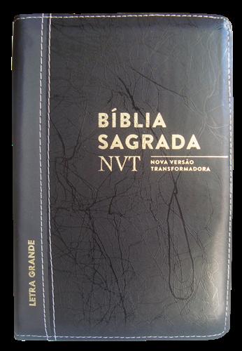 Bíblia NVT Letra Grande Zíper Bi-Color Preto Deco com Preto Escovado
