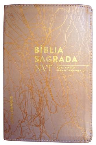 Bíblia NVT Letra Grande Luxo Costurada Cobre Deco