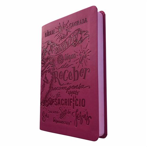 Bíblia JesusCopy Lettering Luxo Rosa - NAA - Capa Flexível