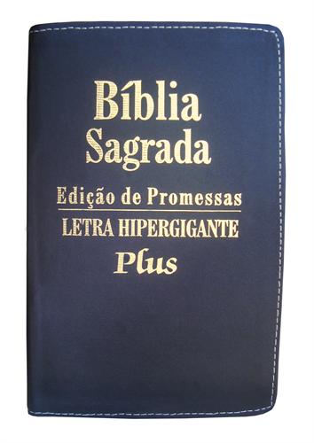 Bíblia Letra Hipergigante Plus Zíper Costura Preto Escovado com Índice