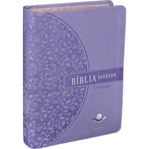 Bíblia Letra Grande Lilás Beira Florida