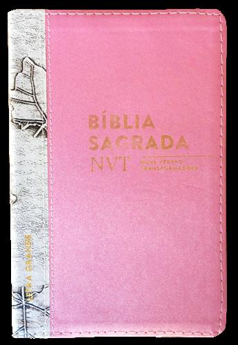 Bíblia NVT Letra Grande Luxo Bi-Color Rosa Brilho com Marfim Folha