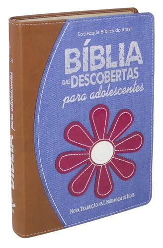 Bíblia das Descobertas Capa Sintética Para Adolescente MARROM/FLOR
