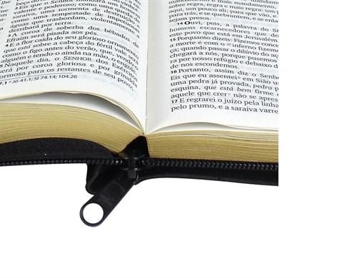 Bíblia Harpa Letra Grande Zíper Índice Preta