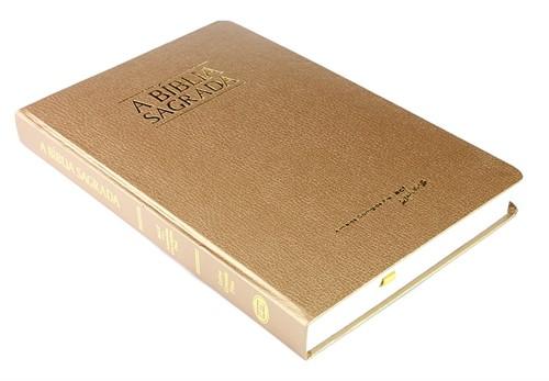 Bíblia Letra Grande Fina Semi Luxo Dourada