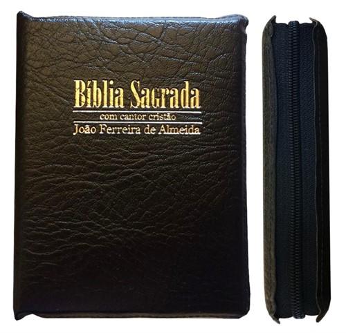 Bíblia Cantor Letra Grande Zíper Preto Revista e Corrigida