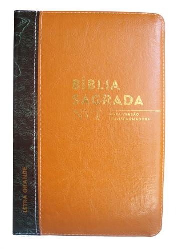 Bíblia NVT Letra Grande Zíper Bi-Color Laranja Barroco com Verde Escuro Folha