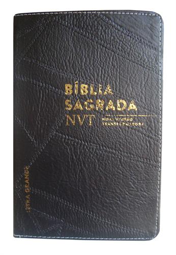 Bíblia NVT Letra Grande Luxo Costurada Preto Costura