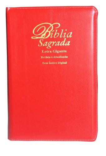 Bíblia Letra Gigante Zíper Costura Revista Atualizada Vermelho Barroco