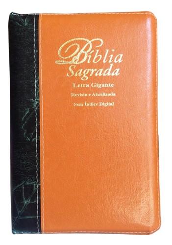 Bíblia Letra Gigante Zíper Bi-Color Revista Atualizada Laranja Barroco com Verde Escuro Folha
