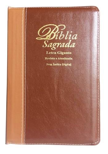 Bíblia Letra Gigante Zíper Bi-Color Revista Atualizada Marrom Escuro Liso com Marrom Claro Liso