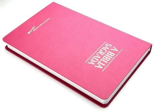 Bíblia Letra Grande Fina Semi Luxo Rosa
