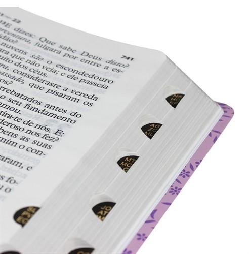 Bíblia Letra Extra Gigante Lilás/Pink com Índice Luxo (palavras de Jesus em vermelho)