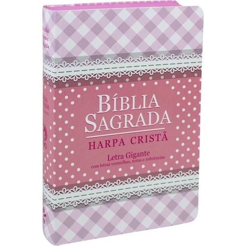 Bíblia Harpa Letra Gigante Semi Flexível Rosa Revista e Corrigida