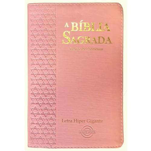 Bíblia Letra Hiper Gigante Mix Estrela Feminina Rosa