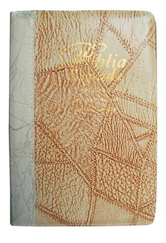 Bíblia Letra Grande Zíper Bi-Color Marfim Costura com Marfim Deco Revista Atualizada