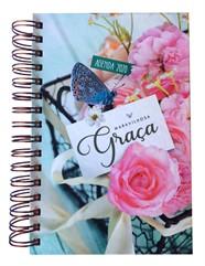 Agenda Feminina Espiral Maravilhosa Graça 2020 Grande Flor