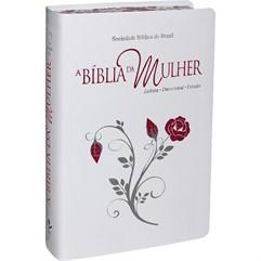 BÍBLIA DA MULHER GRANDE COURO BONDED BRANCO BEIRAS FLORIDAS - RA