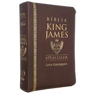 BÍBLIA KING JAMES ATUALIZADA MÉDIA COM ZÍPER LETRA HIPERGIGANTE COURO PU MARROM