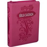 Bíblia Letra Grande Zíper Com Índice Pink