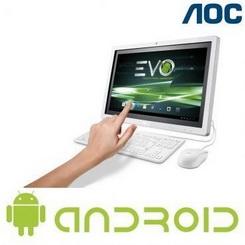 "Computador All In One AOC com Processador Amlogic 8726-MX Dual Core, Tela 21,5"" Touch , 1GB de RAM, 8GB de HD eMMC e Android 4.1 - EVO A2272PWH TN"