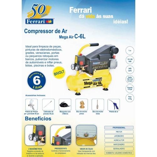 MOTOCOMPRESSOR 05.3PES/06LTS - 110V/220V - LUBRIFICADO - 1HP - FERRARI - AAC1010005 - 79730