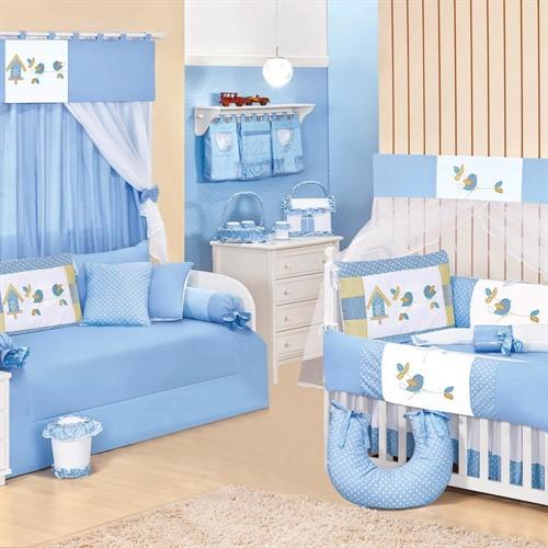 Quarto para Bebê Sem Cama Babá Passarinhos Azul