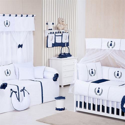 Quarto para Bebê Sem Cama Babá Realeza Azul Marinho