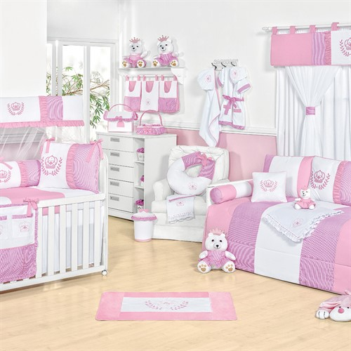 Quarto para Bebê sem Cama Babá Realeza Rosa Baby