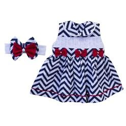 Vestido para Bebê Chevron Azul Marinho