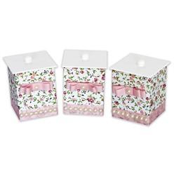 Conjunto de Potes Pérola Floral MDF