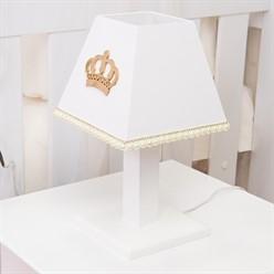 Abajur Realeza Dourada com Pérolas e Strass MDF