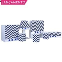 Kit Higiene Completo Chevron Azul Marinho
