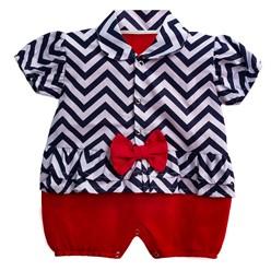 Macacão para Bebê Chevron Vermelho