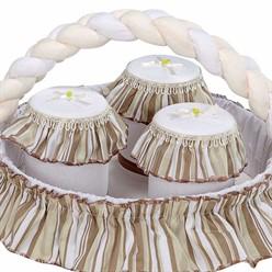 Conjunto de Potes Estampado Branco Com Bege