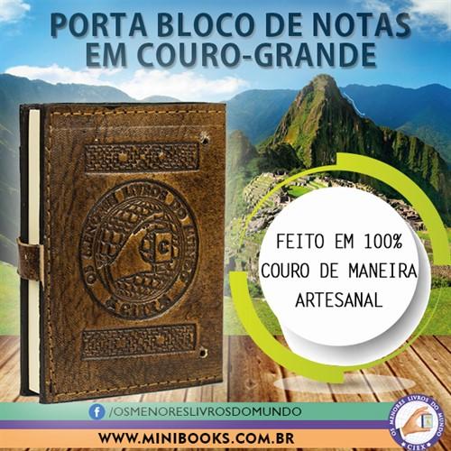PORTA BLOCO DE NOTAS COM CAPA DE COURO 100 folhas com mens. 11x8cm