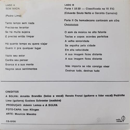 Compacto A Bôlha - Sem Nada/18h30/Os Hemadecons Cantavam Em Côro (Usado) – 1971