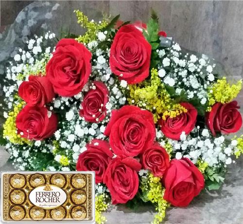 Bouquet 12 rosas + Ferrero Rocher T12