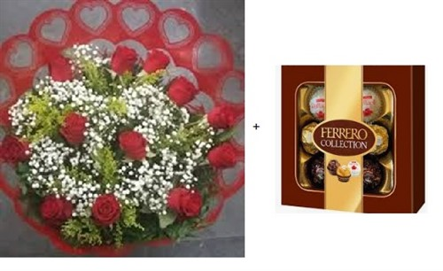 Bouquet 12 rosas + Ferrero Rocher T7