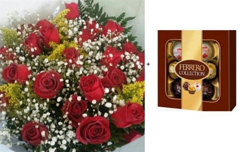 Bouquet 24 rosas + Ferrero Rocher Collection